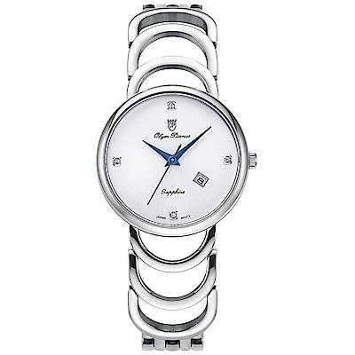 Olym Pianus 奧柏表 恬靜時光石英腕錶-白 2491LS
