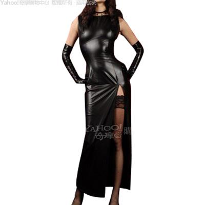 香港CICILY-S女王制服誘惑-塗膠仿皮 性感長裙旗袍
