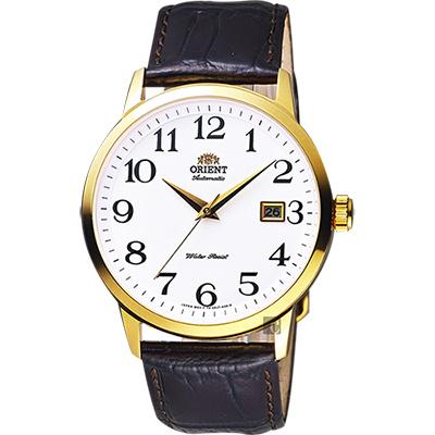 ORIENT東方 時尚玩家腕錶-白x金框x咖啡/41mm
