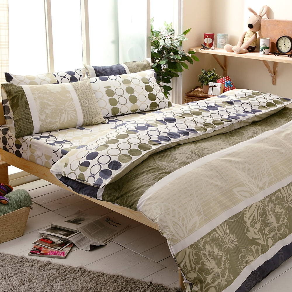 【FOCA-格林尼致】四件式100%精梳純棉兩用被床包組-雙人