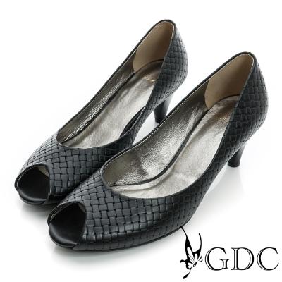 GDC都會-經典編織魚口真皮低跟鞋-黑色