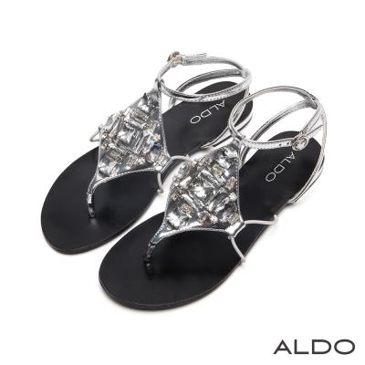 ALDO-璀璨菱形寶石系雙夾心交叉繫帶涼鞋-摩登銀色