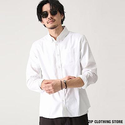 釦領長袖襯衫白襯衫(20色) ZIP日本男裝