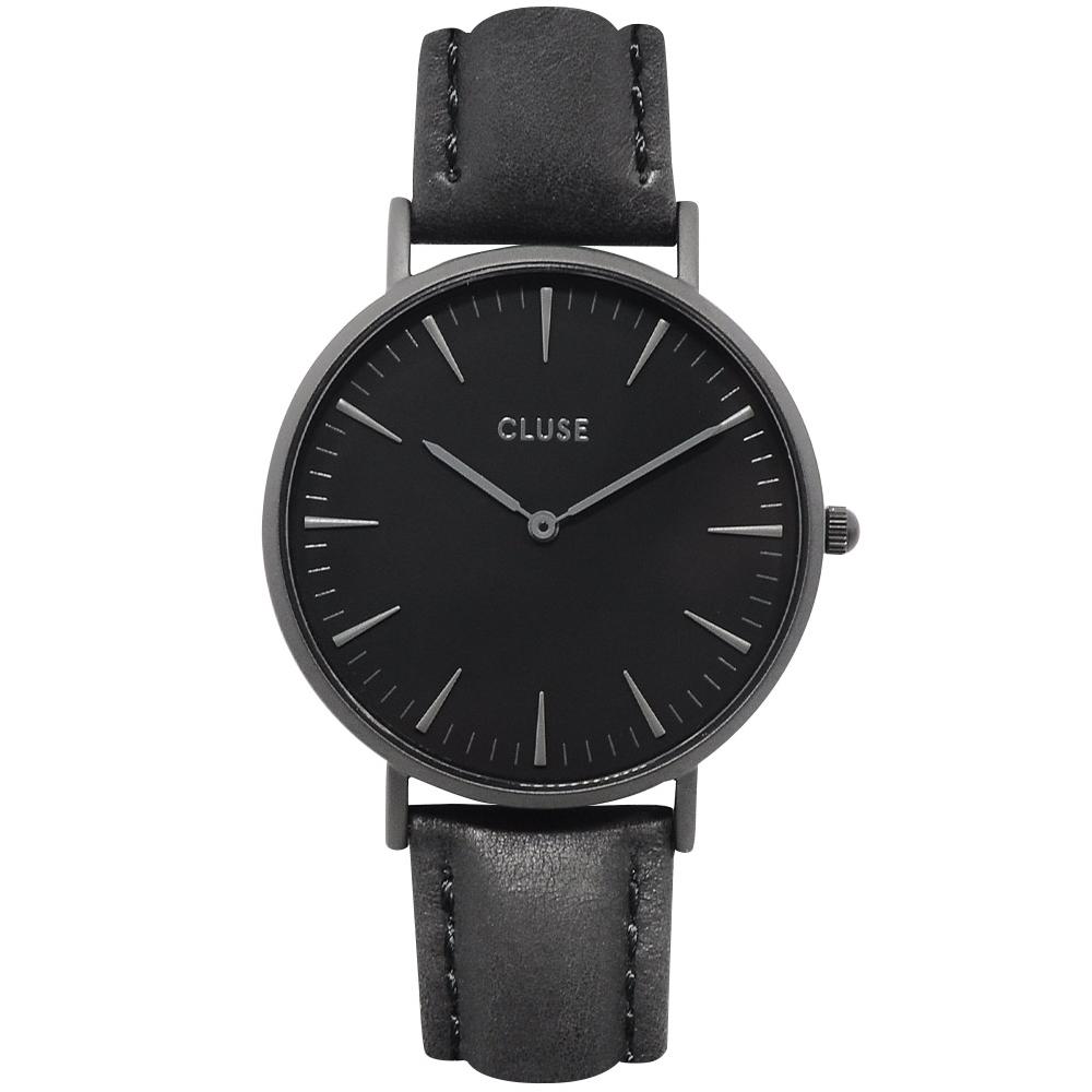 CLUSE荷蘭精品手錶 波西米亞極致黑系列 黑錶盤/黑皮革錶帶38mm