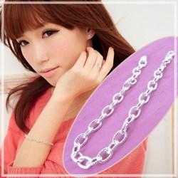 【維克維娜】戀戀美好。經典螺紋圈鎖設計 925純銀手鍊