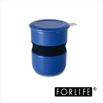 美國FORLIFE 不燙手曲線杯 附蓋 濾網 355ML~藍色