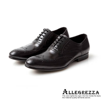 ALLEGREZZA-知性風範-真皮藝紋雕花牛津鞋  黑色