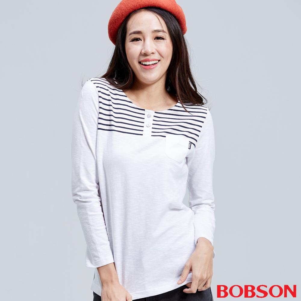 BOBSON  女款貼口袋配條白色上衣