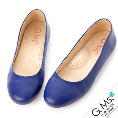 【G.Ms.】旅行女孩II‧素面全真皮可攜式軟Q娃娃鞋(附專屬鞋袋) ‧寶藍