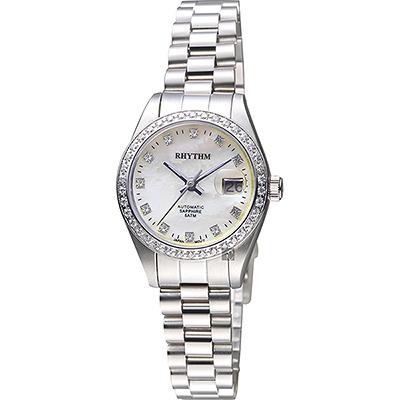 RHYTHM日本麗聲 優雅晶鑽機械日期女錶-珍珠貝x銀/34mm