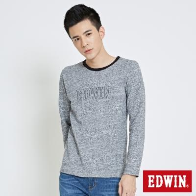 EDWIN 花紗長袖T恤-男-藍色