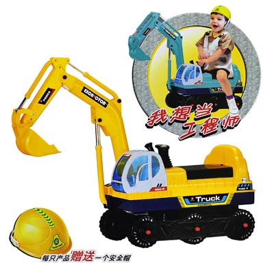 乘坐式怪手挖土機工程學步車 附贈安全帽 電動機械手臂控制