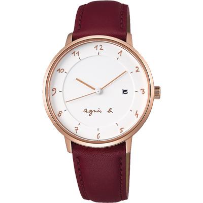 agnes b. 法國人文風尚簡約設計女錶(B4A002J1)-白x玫瑰金框/33mm