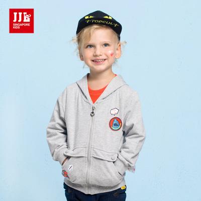 JJLKIDS 海世界大口袋純棉連帽外套(麻灰)