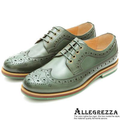 ALLEGREZZA.個人風格真皮雕花德比鞋 綠色