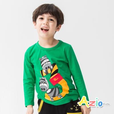 Azio Kids 童裝-上衣 斑馬數字3印花長袖棉T(綠)