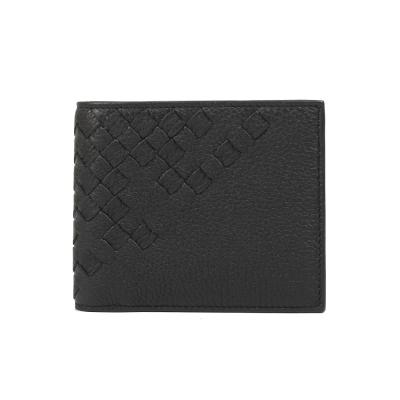 BOTTEGA VENETA  編織拼接皮革八卡對開夾(黑色)