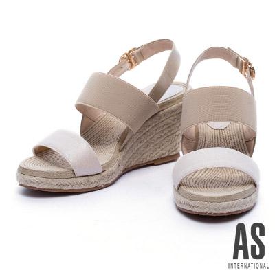 涼鞋 AS 寬版彈力繫帶草編楔型高跟涼鞋-米