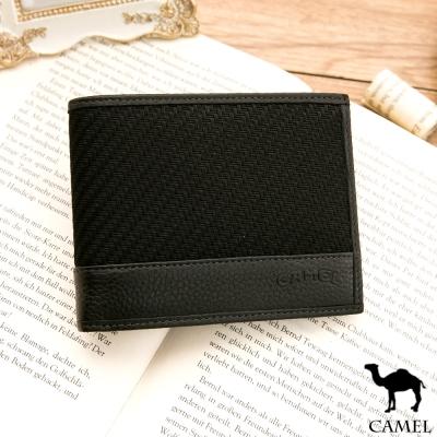 CAMEL - Ease牛皮系列8卡1照左右翻短夾-黑色