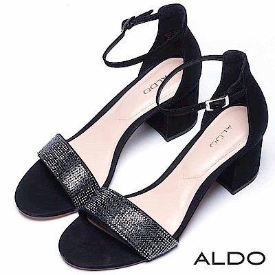 ALDO 原色一字水鑽佐金屬繫踝粗跟涼鞋~尊爵黑色