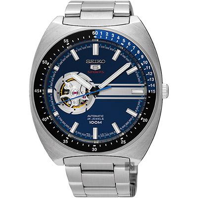 SEIKO精工 5號尊者鏤空機械腕錶(SSA327J1)-藍/44mm
