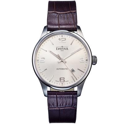 DAVOSA Gentleman 紳士系列 經典機械腕錶-白/44mm