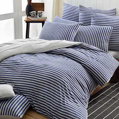 義大利La Belle 斯卡線曲 雙人四件式色坊針織被套床包組-都會藍