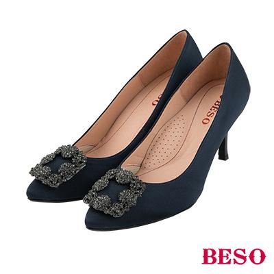 BESO優雅名媛 2ways穿法蝴蝶結與復古方釦跟鞋~藍