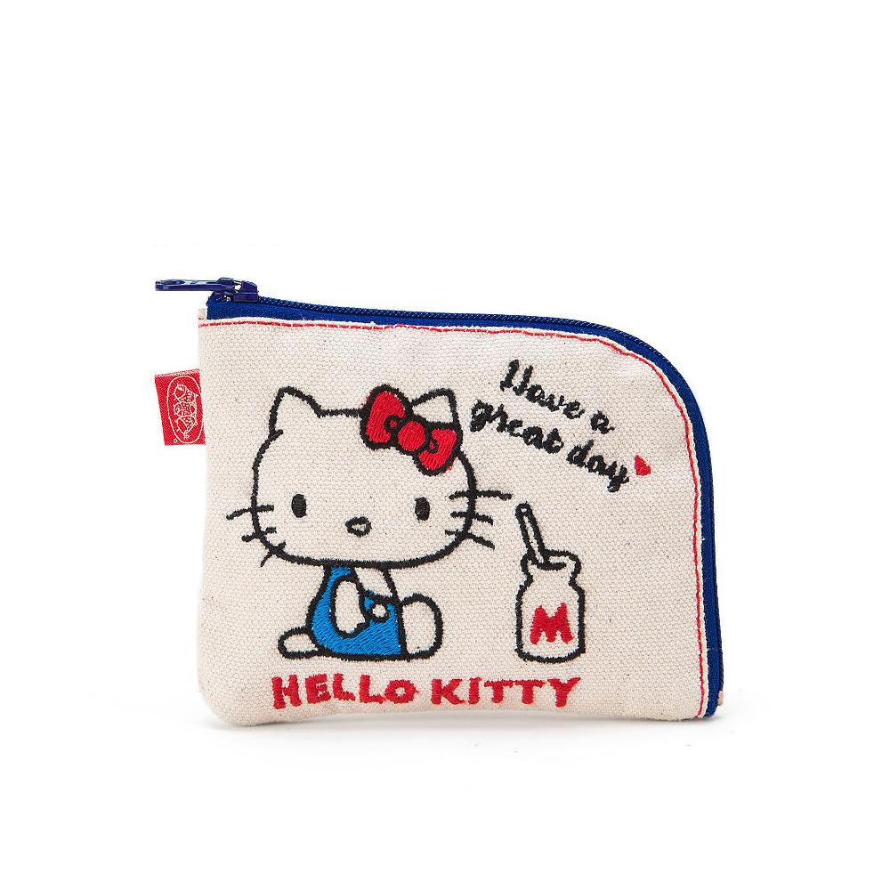 Sanrio HELLO KITTY*BOOFOOWOO刺繡帆布零錢包(白-側坐牛奶)