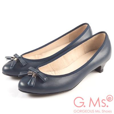 G.Ms. MIT系列-牛皮流蘇蝴蝶結小尖頭低跟鞋-知性藍