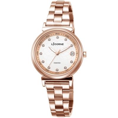 LICORNE 永恆時光真鑽系列 宮廷魅麗繁星手錶-玫瑰金x白/30mm