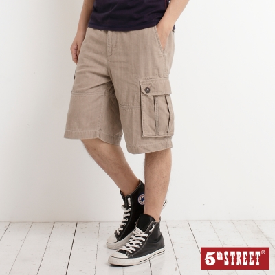 5th STREET 西部旅程 內配色條紋貼袋休閒褲-男-灰卡其