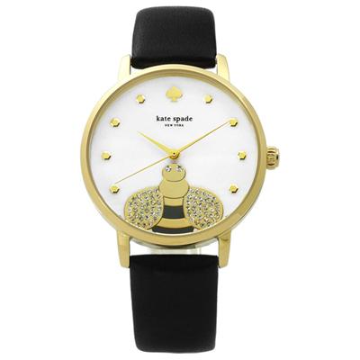 kate spade 晶鑽飛舞蜜蜂珍珠母貝真皮手錶-白x鍍金x黑/34mm