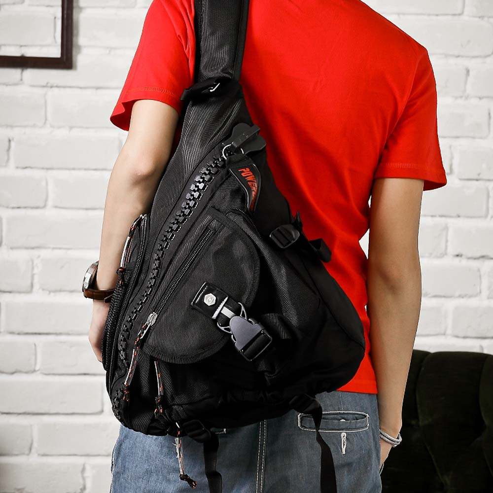 DF【Bag school】時尚紐約個性風粗獷拉鏈多功能單側肩後背包