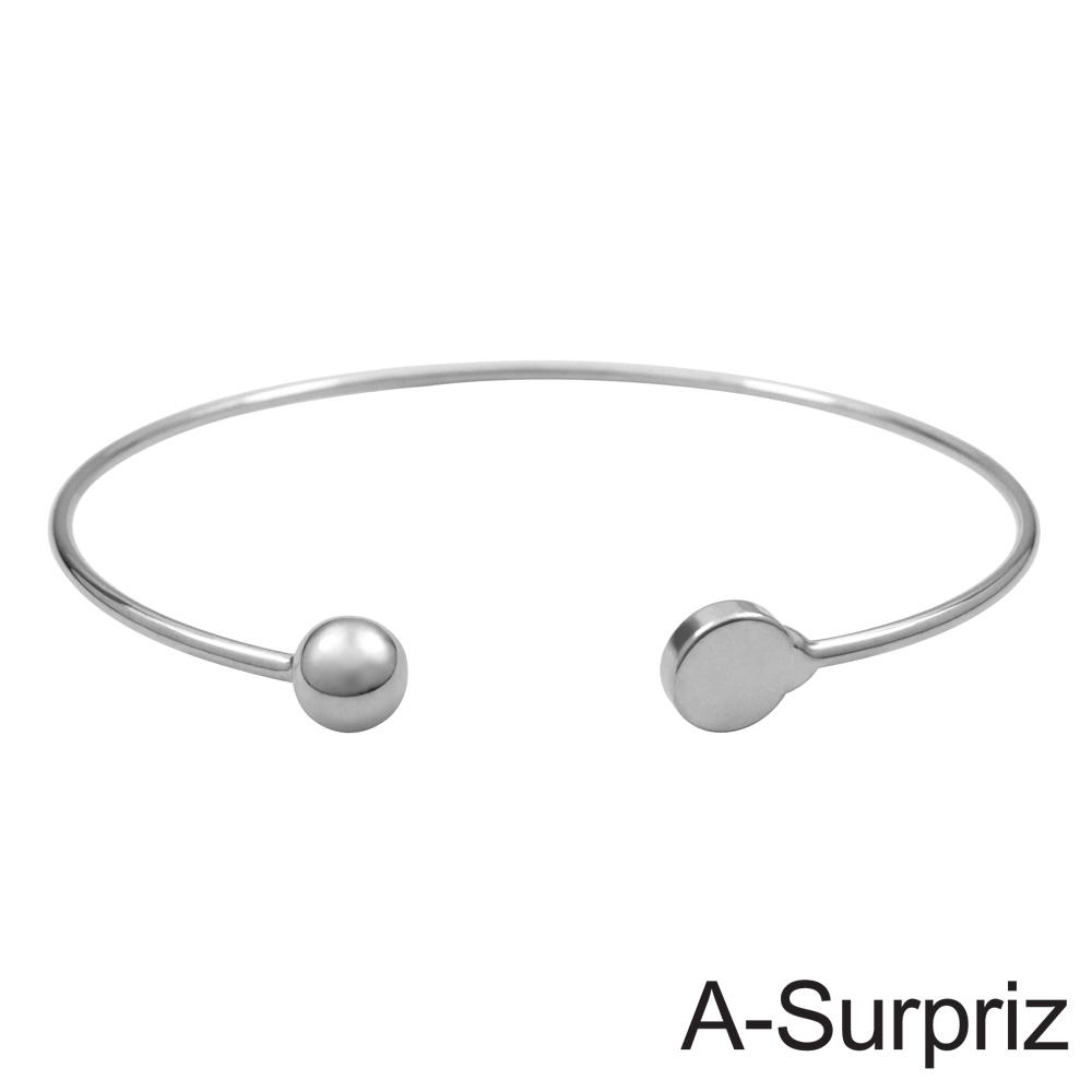 A-Surpriz 圓珠愛戀造型開口手環(白K色)