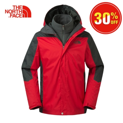 The North Face北面男款紅色保暖絨面三合一外套