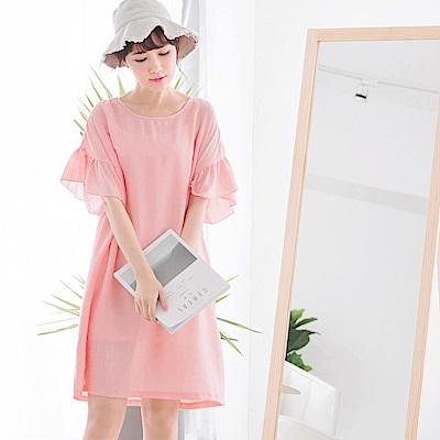質感純色荷葉袖圓領洋裝-OB嚴選