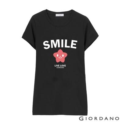 GIORDANO-女裝英文口號休閒印花TEE-42-標誌黑