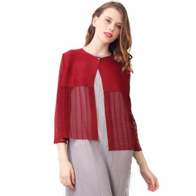 時尚百搭酒紅色長袖壓摺罩衫外套-玩美衣櫃