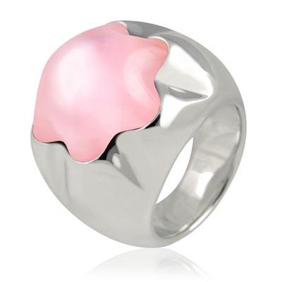 MONT BLANC 萬寶龍 粉紅色六角星造型墜飾寬版純銀戒指-52號