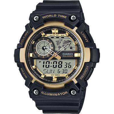 CASIO 卡西歐 世界時間地圖手錶-黑金/53.7mm