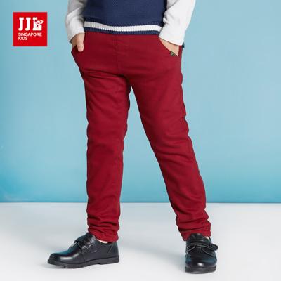 JJLKIDS 簡約百搭素色內刷毛休閒褲(紅色)