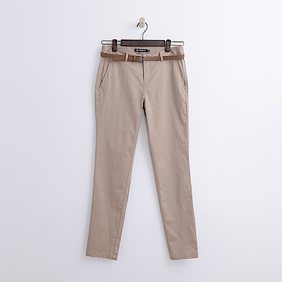 Hang Ten - 女裝 - 造型腰帶修身長褲-卡其色