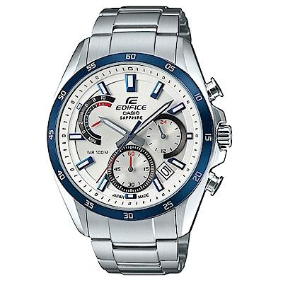 EDIFICE 簡約時尚設計白面不鏽鋼腕錶 (EFB-510JDB-7A)/44.3 mm
