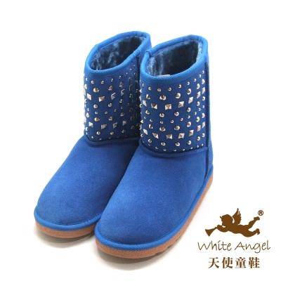 天使童鞋 B325N 帥氣鉚釘真皮雪靴 寶藍