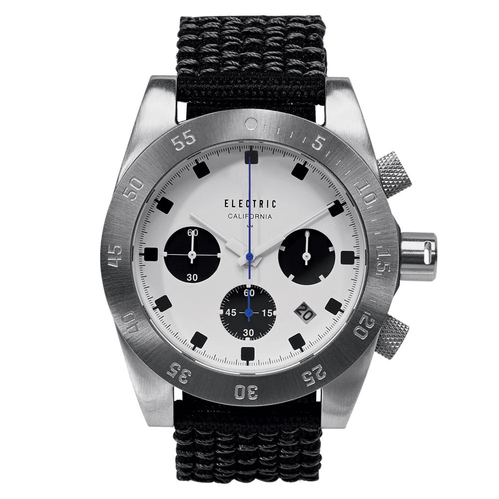 ELECTRIC DW01系列-經典潛水三眼計時腕錶-白面x黑帆布帶/44.5mm @ Y!購物