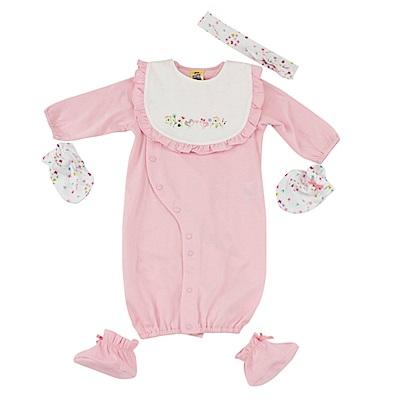 愛的世界 MYBABY 純棉小蝴蝶髮帶長袖兩用嬰衣5件組禮盒/3~6M