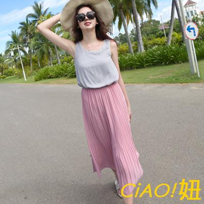 撞色拼接細褶裙擺雪紡洋裝 (粉拼灰)-CiAO妞 holiday