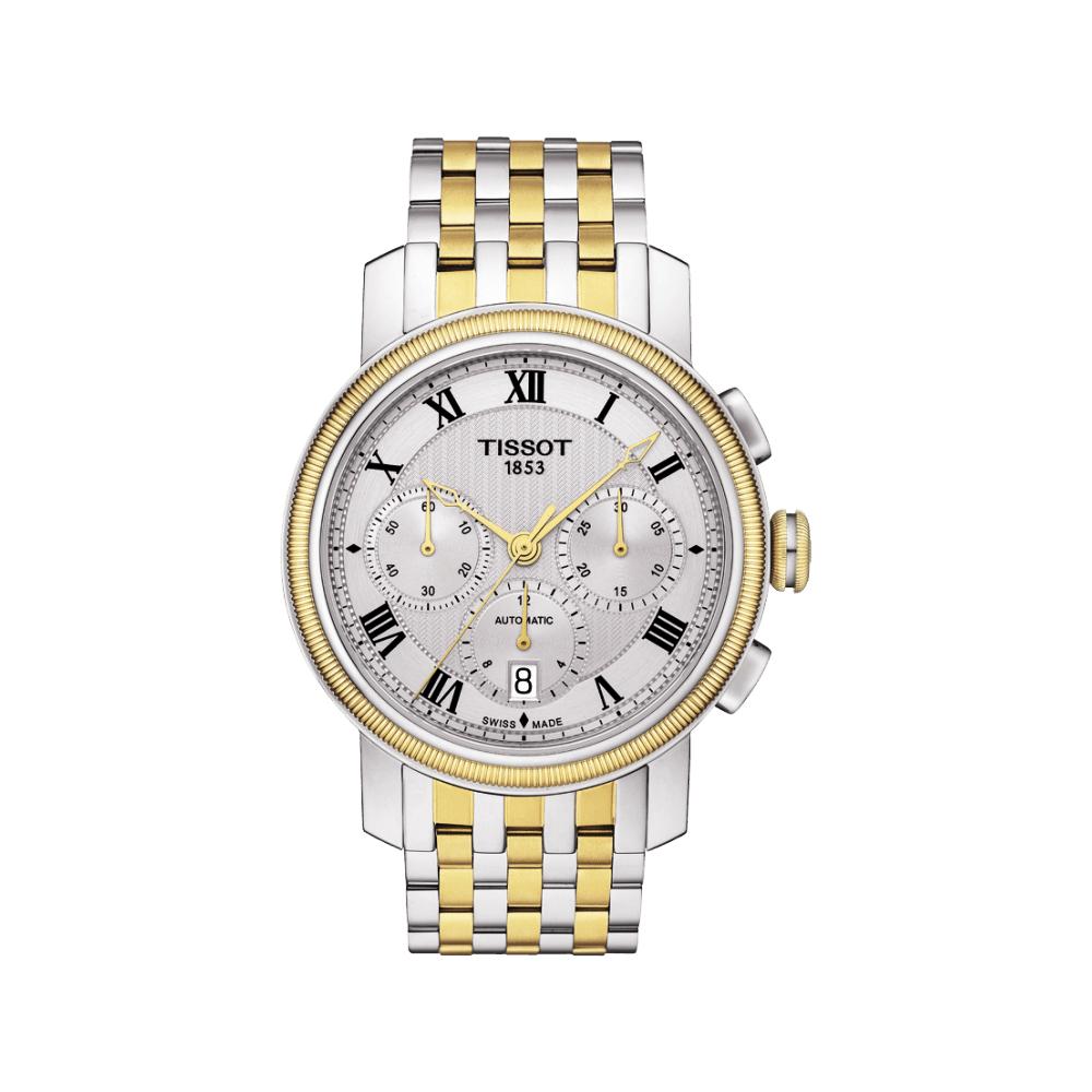 TISSOT Bridgeport 羅馬計時機械腕錶-銀x雙色版/42mm