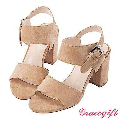 Grace gift-絨布雙寬帶銀釦粗高跟涼鞋 杏